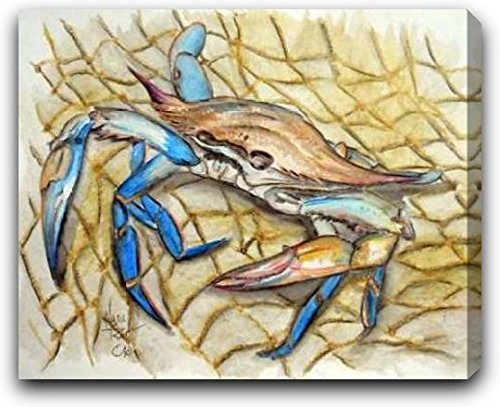 "Blue Crab by Mark Ray - 30"" x 24"" Gallery Wrapped Premium Canvas Print"