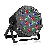 LED Par Licht, Discolicht mit Musik-activated, Auto-run und DMX512 Steuermodus, Verschiedene Farben Kombinationen von Rot, Grün und Blau, Multi-Winkel drehendem Halter, Europäische Norm-Stecker (18 LED)