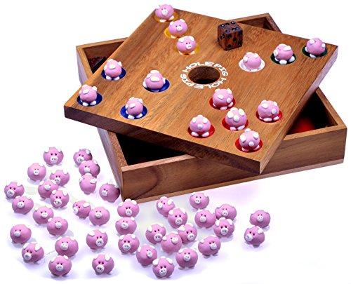 Pig Hole – Big Hole – Schweinchenspiel – Würfelspiel – Gesellschaftsspiel – Brettspiel aus Holz