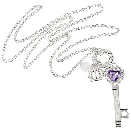 Niceeshop(Tm) Palace Style Purple Crystal Heart Key Necklace Sweater Chain,Silver