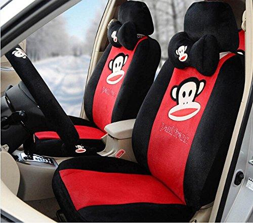 Cute Cartoon Five Person Car Seat Covers Full Set Black Red Car
