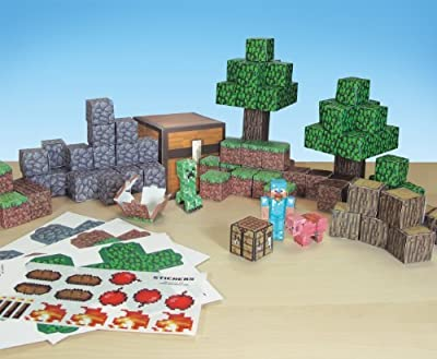 Minecraft Papercraft Overworld Deluxe Set, Over 90 Pieces by Jazwares Domestic