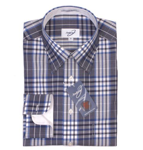 Andrew J Carefree Shirt - Navy/Grey Check Casual
