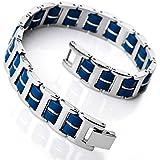 MunkiMix Edelstahl Gummi Kautschuk Armband Link Handgelenk Silber Blau I Rechteckig Polished Herren