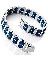 MunkiMix Acier Inoxydable Caoutchouc Bracelet Lien Poignet Argent Bleu I Rectangulaire Rectangle Poli Homme