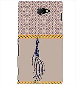 PrintDhaba Peacock D-3794 Back Case Cover for SONY XPERIA M2 (Multi-Coloured)