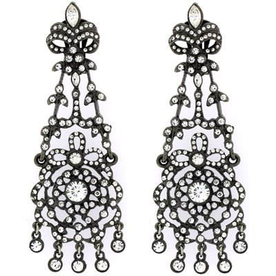 Kenneth Jay Lane Gunmetal & Crystal Chandelier Drop Earrings
