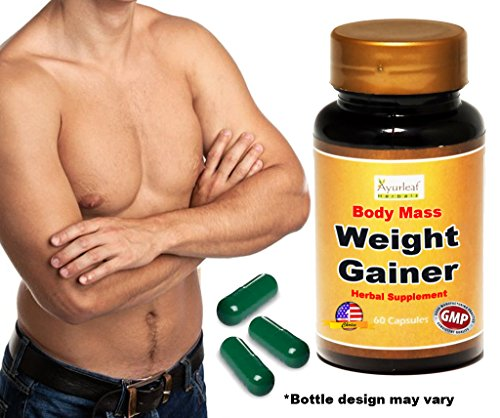 Ayurleaf Weight Gainer - Men's Weight Gain Formula. Mass Gainer Gain weight pills for men - 1, 2, 3 or 4 Bulk Packs - Helps skinny men gain body mass. Fast Weight for Men. (One Single Bottle) (Cb 1 Weight Gainer Pills compare prices)