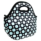 HOMWE Neoprene Printed Blue Dot Lunch Tote Bag - Insulated Waterproof Lunch Boxes for Kids, Women and Girls