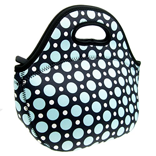 Neoprene Blue Dot Lunch Tote Bag - Insulated Waterproof Lunch Box for Women, Adults, Kids, Girls, and Teen Girls - Homwe (Lunch Tote For Women Insulated compare prices)