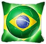 "Rikki Knight Brazil World Cup 2014 Brazil Brasil Team Football Soccer Flag Microfiber Throw Décor Pillow Cushion 16"" Square DOUBLE SIDED PRINT (Insert NOT Included)"
