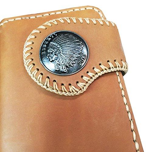 D'SHARK Men's Biker Genuine Leather Billfold Wallet with Chain (Brown) 3