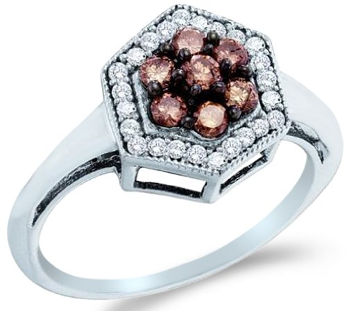&$ Cheap 10k White Gold Chocolate Brown And White Diamond