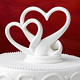 Sleek Interlocking Hearts Design Porcelain Cake Topper