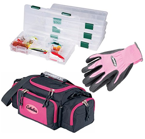 Fishing Gear for Women. Bundle of Pink Cabelas Tackle Bag with 4 x 3500 Tackle Boxes and Pink Berkley Fishing Gloves (Tackle Boxes And Bags compare prices)