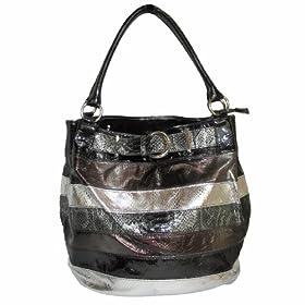 Patent Black, Bronze & Silver Snake-Skin Hobo Handbag