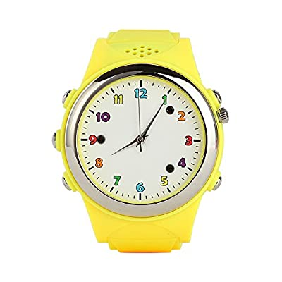 Cada GPS Tracker Kids Smartwatch Wrist Watch Anti-lost SOS Remote Monitor Mobile Phone Alarm Mini Child Bracelet for Children Safety, Compatible with IOS Android Smartphone (Yellow)