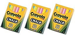 Crayola Chalk Nontoxic Assorted 12 Colors (Pack of 3)