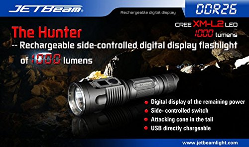 Wholesale Jetbeam Ddr26 Cree Xm-L2 Led 1000 Lumens Rechargeable Digital Display Flashlight