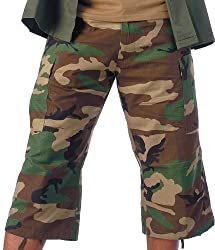 ROTHCO 6-POCKET B.D.U. CAPRI PANTS - WOODLAND CAMO