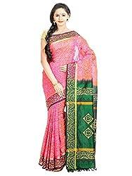 Anagha Hand Printed Kanjivaram Silk-Cotton Saree - Lotus Pink