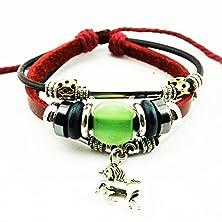 buy Real Spark Red Leather Beads Horse Pendant Bracelet Metal Tube Handmade Wrap Bracelet