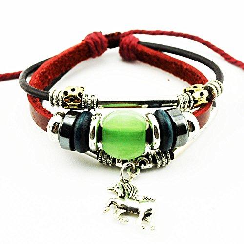Real Spark Unisex Red Leather Beads Horse Pendant Apple Green Gemstone Bead Metal Tube Handmade Wrap Bracelet (Celtic Knot Bracket compare prices)