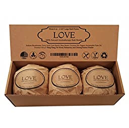 Love Bath Bomb Gift Set - Romantic Euphoric Blend - 3 Extra Large, 2 3/4 6.0 Oz. Valentines Day Gift Idea