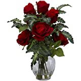 Nearly Natural 1280 Rose with Fern Silk Flower Arrangement, Red