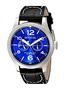 Invicta Men's 10490 Specialty Military Stainless Steel Watch with Black Leather Strap
