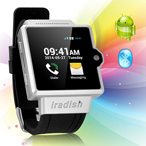 "Iradish I6 Android 4.0 Dual Core Wifi Gps Fm Bluetooth 2G 1.54"" Touch Smart Watch Phone (Silvery)"