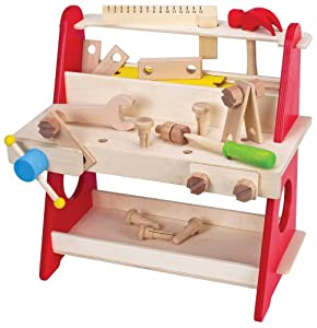 Amazon Com Wooden Tool Bench Workbench 39 Pieces Toys