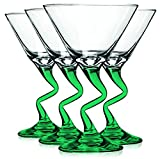 Libbey Emerald Green Z Shaped Stem Martini Glasses with Colored Accent - 9 oz. Set of 4- Additional Vibrant Colors Available by TableTop King