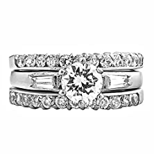 buy Morgana: 2.5Ct Brilliant-Cut Ice On Fire Cz Stacked 3 Pc Wedding Ring Set 316 Steel, 3187 Sz 7.0