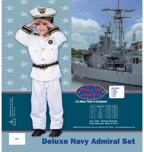 Dress Up America Halloween Cosplay Deluxe Navy Admiral Costume Set Small 4-6