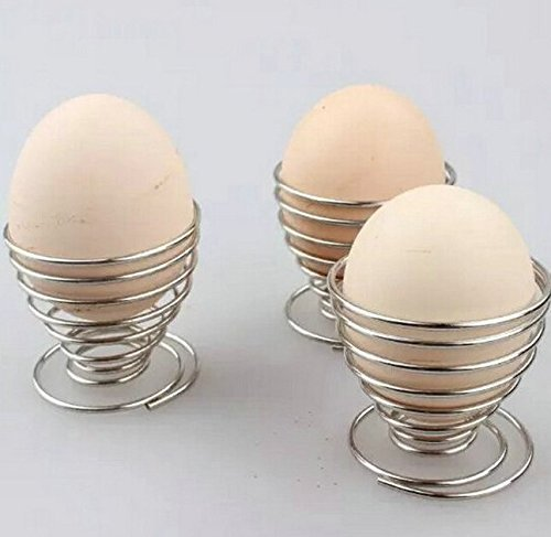 Efbock Stainless Steel Spring Wire Tray Egg Cup Boiled Eggs Holder 2pcs