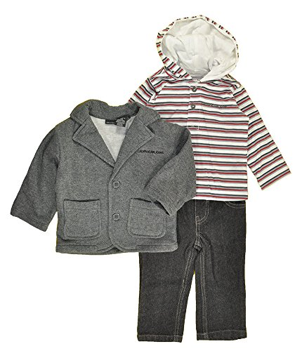 Calvin Klein Baby-Boys Infant Fleece Blazer With Hooded Stripes Tee And Jeans, Gray, 12 Months