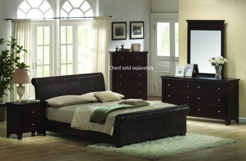 4pcs California King Size Bedroom Set - Espresso Finish