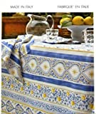 "Mirabello Tavola Italiana Luxury Cotton 63 x 102"" Tablecloth ""Sorrento"" Made in Italy 60 White Blue Yellow"