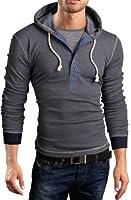 Grin&Bear Slim Fit Hoodie Kapuzenpullover 2 in 1 Henley Sweatshirt, BH131