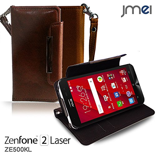 ZenFone2 Laser ZE500KL カバー jmeiオリジナルレザー手帳カバー Dandy ブラウン(無地) 楽天モバイル simフリー ASUS エイスース ゼンフォン 2 レーザー スマホケース 手帳型 スマートフォン ケース