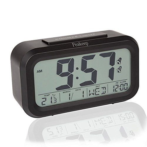 Peakeep Dual Alarm Streamlined Night Activated Smart Light LCD Digital Alarm Clock Battery Operated with Snooze Function, Optional Weekday Alarm Mode and Large Display (Black)