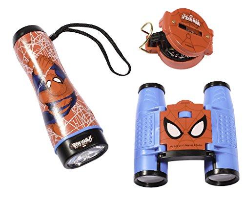 Ultimate Spider-Man Adventure Spy Kit For Boys (Flashlight,Binoculars And Compass)
