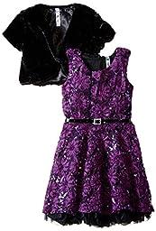 Beautees Big Girls\' Soutache Dress with Faux Fur Jacket, Purple, 12
