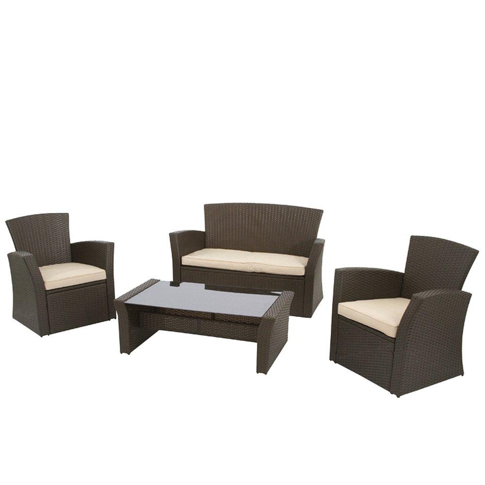 Siena Garden Lounge-Set Meran, bi-color lederlook mocca 2 x Sessel L 74 x B 73 x H 82 cm, Bank 2-sitzig L 128 x B 73 x H 82 cm, Tisch mit Glasplatte schwarz L 110 x B 60 x H 36 cm