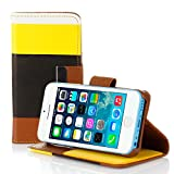myLife (TM) Dark Black + School Bus Yellow Stripes {Modern Design} Faux Leather (Card, Cash and ID Holder + Magnetic Closing + Hand Strap) Slim Wallet for the iPhone 5C Smartphone by Apple (External Textured Synthetic Leather with Magnetic Clip + Internal Secure Snap In Hard Rubberized Bumper Holder)