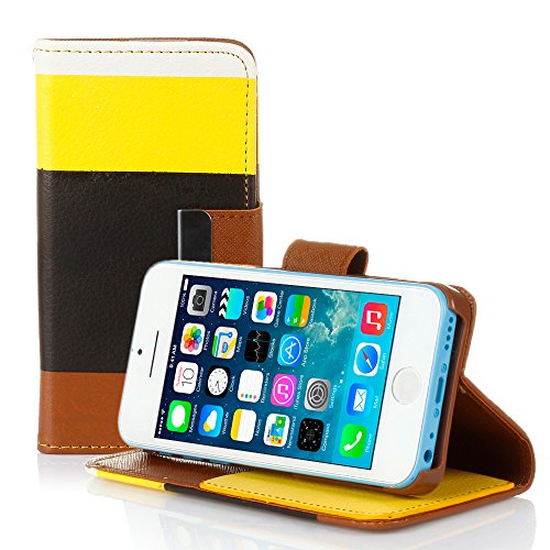 Mylife (Tm) Dark Black + School Bus Yellow Stripes {Modern Design} Faux Leather (Card, Cash And Id Holder + Magnetic Closing + Hand Strap) Slim Wallet For The Iphone 5C Smartphone By Apple (External Textured Synthetic Leather With Magnetic Clip + Internal