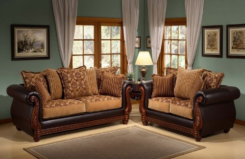 Buy Low Price Benchley 2pc Sofa Loveseat Set with Chocolate Damask Cushion Seat and Back (VF_BCL-CARSON)