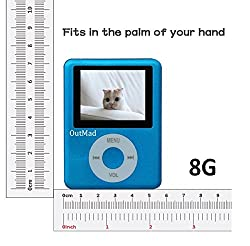 OutMad Blue Economic Mp3 Mp4 Player - 8 GB Micro Sd Card Included - 1.81 LCD Slim Portable Mp3/mp4+ Mini Usb2.0 Cables