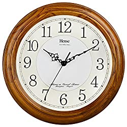 HENSE 13-inch Large Solid Platane Wood Wall Clock Living Room Modern Clock Mute Simple Quartz Clock with Big Arabic Numerals and Fine Texture HW13 (HW13 #C-LB)